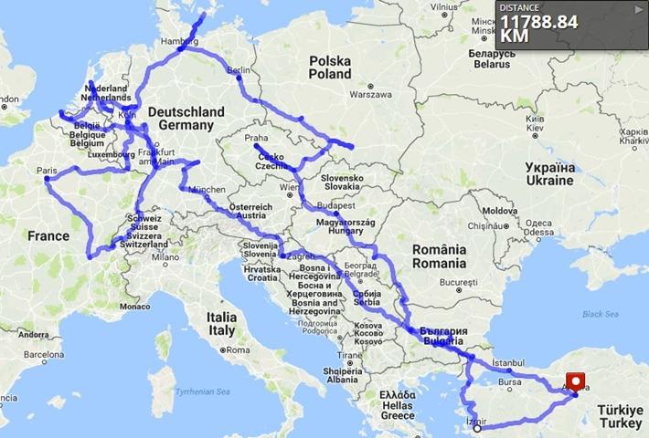Avrupa haritası, otostop ile avrupa turu